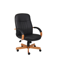 Boss Leatherplus Exec. Chair W/ Oak Finish