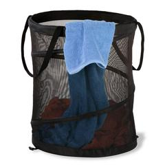 2Pk Med Mesh Pop Open Hampers, Black