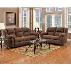 Exceptional Designs by Flash Reclining Living Room Set in Aruba Chocolate Microfiber
