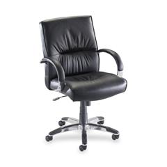 Lorell Bridgemill Managerial Mid-Back Swivel Chair - Leather Black Seat - Aluminum Frame
