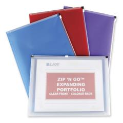 "C-line Zip 'N Go Expanding Portfolio - Letter - 8.5"" x 11"" - 200 Sheet - 24 / Display Box - Red, Blue, Purple, Clear"