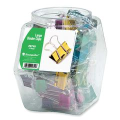 "Colored Binder Clip Tub - Large - 1.25"" Width - 12 / Display Box - Assorted"
