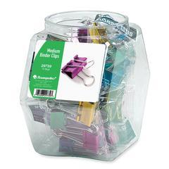 "Colored Binder Clip Tub - Medium - 1"" Width - 18 / Display Box - Assorted"