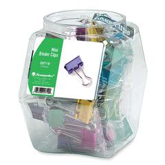 "Baumgartens Colored Binder Clip Tub - Mini - 0.50"" Width - 36 / Display Box - Assorted"
