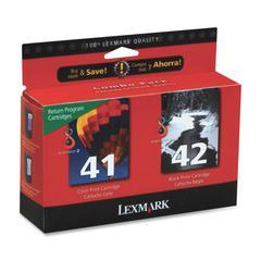 Lexmark No. 41/42 Combo Ink Cartridges - Black, Color - Inkjet - 212 Page - 2 / Pack