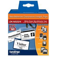 "Brother DK Series Non-adhesive Continuous Paper Tape Roll - 2.12"" Width x 1200"" Length - 1 Roll - White"