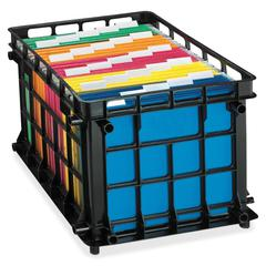 "Pendaflex File Crate - Stackable - External Dimensions: 16.8"" Width x 18.8"" Depth x 11.5"" Height - Plastic - Black - File - 1 Each"