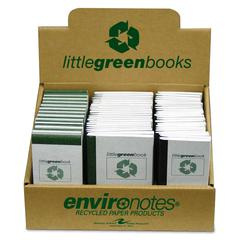 "Roaring Spring Environotes Little Green Book - 60 Sheet - Narrow Ruled - 3"" x 5"", 5"" x 3"", 6.12"" x 4"" - 72 / Display Box"