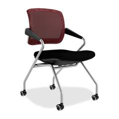 "Valore TSM2 Mid Back Chair - Black, Cranberry - Fabric Burgundy Seat - Silver Frame - 21.5"" x 24.5"" x 36"" Overall Dimension"