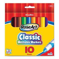 MEGA Brands Broadline Marker - Bold Marker Point Type - Blue, Red, Yellow, Orange, Purple, Green, Light Green, Brown, Gray, Black Ink - 10 / Pack