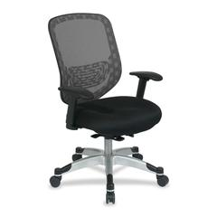 "Office Star Duragrid Back/Padded Mesh Seat Chair - Charcoal Seat - 26.8"" x 24.3"" x 45.3"" Overall Dimension"