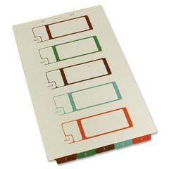 "Bottom Tab TOC Divider - 5 x Tab - 8.50"" x 14"" - 5 - Ivory Divider - Multicolor Tab"