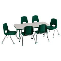 "Rect. 24""x48"" Table GGN-TB & 6-10""GN Chairs"