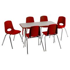 "Rect. 24""x48"" Table GRD-TS & 6-10""RDG Chairs"