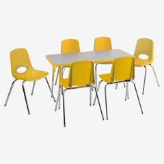 "Rect. 24""x48"" Table GYE-TS & 6-10""YEG Chairs"