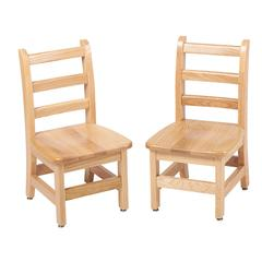 "10"" North American Oak Ladderback Chair, set of 2"