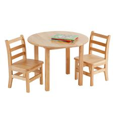 """30"""" Round Hardwood Table and 2-3 Rung Chairs"""