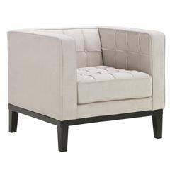 Roxbury Arm Chair In Tufted Cream Fabric