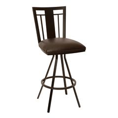 """Cleo 30"""" Transitional Barstool In Coffee and Auburn Bay Metal"""