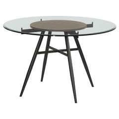 Davis Contemporary Round Dining Table in Mineral Finish with Clear Tempered Glass Top