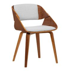 Armen Living Ivy Mid-Century Dining Chair in Gray Fabric with Walnut Wood