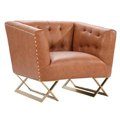 Jasper Modern Chair In Chestnut and Gold Matte Finish