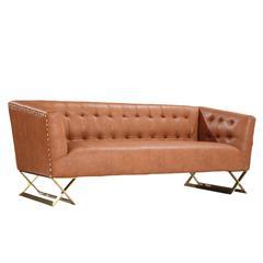 Jasper Modern Sofa In Chestnut and Gold Matte Finish