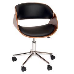 Julian Modern Chair In Black And Walnut Veneer Back and Chrome