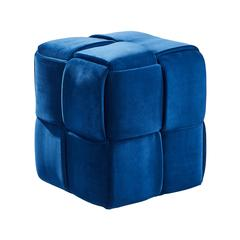 Joy Contemporary Short Ottoman in Blue Velvet