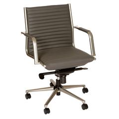 Leo Modern Office Chair In Gray and Powder Coated Gray Metal