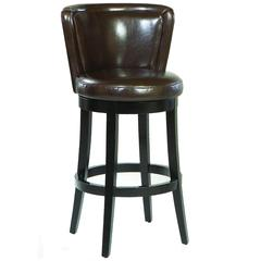 "Lisbon 30"" Swivel Barstool/ Brown Leather Mbs-11"