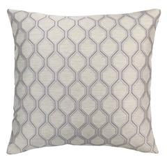 Andante Contemporary Decorative Feather and Down Throw Pillow In Platinum Jacquard Fabric