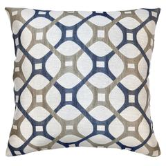 Roxbury Contemporary Decorative Feather and Down Throw Pillow In Cobalt Jacquard Fabric