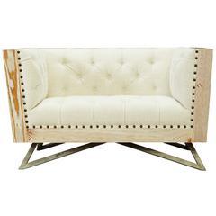 Regis Cream Chair With Pine Frame And Gunmetal Legs