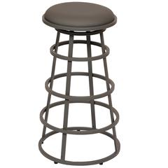 "Ringo 26"" Backless Gray Metal Barstool in Gray Pu"