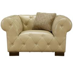 Tuxedo Beige Chair In Bonded Leather