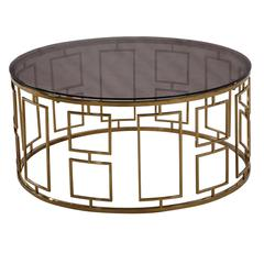 Zinc Contemporary Coffee Table In Shiny Gold With Smoked Glass
