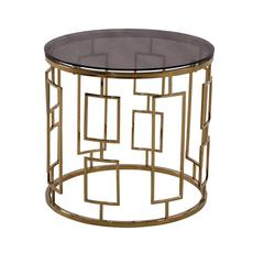 Zinc Contemporary End Table In Shiny Gold With Smoked Glass