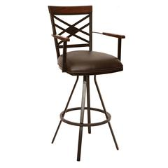 """Zoe 26"""" Transitional Arm Barstool In Coffee and Auburn Bay Metal"""