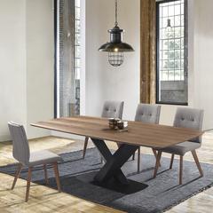 Noble Mid-Century Walnut Wood 5 Piece Dining Set