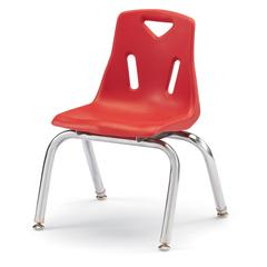 """Stacking Chairs with Chrome-Plated Legs - 12"""" Ht - Set of 6 - Red"""