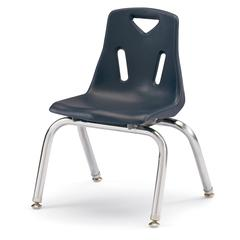"""Stacking Chairs with Chrome-Plated Legs - 12"""" Ht - Set of 6 - Navy"""