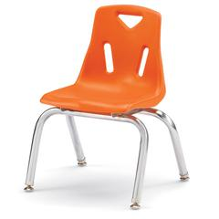 """Stacking Chairs with Chrome-Plated Legs - 12"""" Ht - Set of 6 - Orange"""