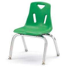 """Stacking Chairs with Chrome-Plated Legs - 12"""" Ht - Set of 6 - Green"""