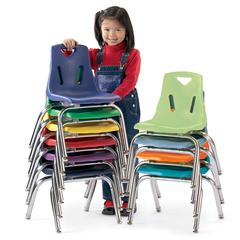 "Stacking Chairs with Chrome-Plated Legs - 18"" Ht - Set of 6 - Green"