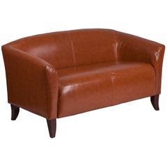 Cognac Leather Loveseat