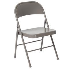 Double Braced Gray Metal Folding Chair