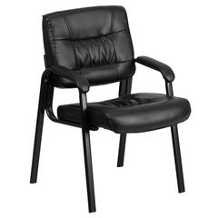 Black Leather Executive Side Reception Chair with Black Frame Finish