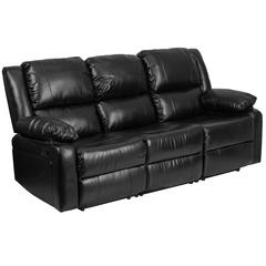 Black Leather Sofa with Two Built-In Recliners