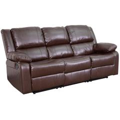 Brown Leather Sofa with Two Built-In Recliners